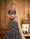 image of Embroidery Designs On Navy Blue Color Art Silk Wedding Wear Lehenga