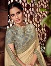 photo of Cream Art Silk Fabric Wedding Wear Saree With Embroidery Work And Gorgeous Blouse