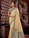 image of Cream Art Silk Fabric Wedding Wear Saree With Embroidery Work And Gorgeous Blouse