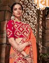 photo of Art Silk Fabric Embroidery Designs On Orange Reception Wear Saree With Attractive Blouse