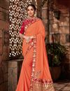 image of Art Silk Fabric Embroidery Designs On Orange Reception Wear Saree With Attractive Blouse