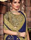 photo of Art Silk Fabric Blue Embroidered Designer Saree With Designer Blouse
