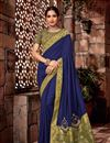 image of Art Silk Fabric Blue Embroidered Designer Saree With Designer Blouse