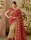 image of Red Color Art Silk Fabric Occasion Wear Saree Embroidery Work And Designer Blouse