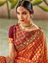 photo of Art Silk Fabric Orange Color Party Wear Saree With Embroidery Work And Enigmatic Blouse