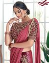 photo of Embroidery Work On Silk Georgette Designer Ready To Wear One Minute Saree In Maroon Color