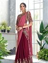 image of Embroidery Work On Silk Georgette Designer Ready To Wear One Minute Saree In Maroon Color