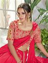 photo of Designer Ready To Wear One Minute Saree In Silk Georgette Fabric Crimson With Embroidery Work