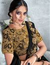 photo of Black Party Wear Ready To Wear One Minute Saree In Satin Silk Fabric With Embroidery Work
