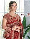 photo of Art Silk Fabric Maroon Festive Wear Ready To Wear One Minute Saree With Embroidery Work
