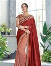 image of Art Silk Fabric Maroon Festive Wear Ready To Wear One Minute Saree With Embroidery Work