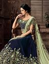 photo of Blue Color Embroidery Work Wedding Wear Indowestern One Minute Lehenga Style Saree In Velvet Fabric
