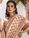 photo of Chikoo Color Puja Wear Georgette Silk Fabric Embroidered Saree