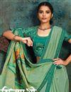 photo of Sea Green Color Georgette Silk Fabric Occasion Wear Saree