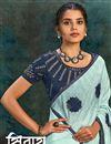 photo of Designer Georgette Silk Fabric Light Cyan Color Party Wear Saree