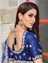 photo of Art Silk Fabric Function Wear Designer Blue Embroidered Saree