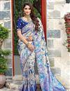 image of Art Silk Fabric Function Wear Designer Blue Embroidered Saree