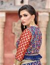 photo of Art Silk Fabric Function Wear Navy Blue Designer Embroidered Saree