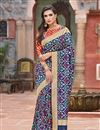 image of Art Silk Fabric Function Wear Navy Blue Designer Embroidered Saree