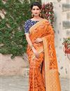 image of Orange Art Silk Fabric Traditional Wear Designer Embroidered Saree