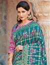 photo of Art Silk Fabric Traditional Wear Teal Designer Embroidered Saree
