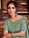 photo of Art Silk Fabric Sangeet Wear Chic Border Work Saree In Sea Green Color