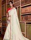 image of Sangeet Wear Off White Color Chic Border Work Saree In Georgette Silk Fabric
