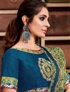 photo of Georgette Silk Fabric Sangeet Wear Chic Border Work Saree In Teal Color