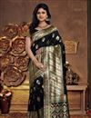 image of Fancy Weaving Work Black Color Traditional Saree In Art Silk Fabric