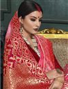 photo of Weaving Work Pink Color Art Silk Fabric Wedding Wear Trendy Saree With Blouse