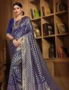 image of Designer Party Wear Fancy Navy Blue Saree In Art Silk With Weaving Work