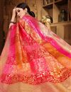 photo of Designer Party Wear Fancy Art Silk Saree In Peach With Weaving Work