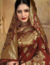 photo of Art Silk Fabric Designer Weaving Work Saree In Maroon Color With Alluring Blouse