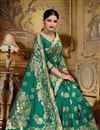 photo of Weaving Work On Art Silk Fabric Teal Color Festive Wear Saree With Designer Blouse
