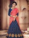 image of Art Silk Fabric Embroidery Work Designer Bridal Wear Navy Blue Color Lehenga With Fancy Dupatta