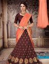 image of Occasion Wear Lehenga In Art Silk Fabric Brown Color With Fancy Dupatta