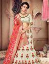 image of Beige Color Art Silk Fabric Designer 3 Piece Lehenga Choli With Fancy Dupatta