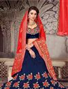 photo of Embroidered Art Silk Fabric Navy Blue Color Festive Wear Lehenga With Fancy Dupatta