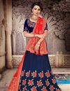 image of Embroidered Art Silk Fabric Navy Blue Color Festive Wear Lehenga With Fancy Dupatta
