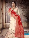 image of Art Silk Fabric Beige Color Reception Wear Lehenga Choli With Fancy Dupatta