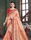 image of Eid Special Salmon Color Party Wear Saree In Art Silk Fabric With Embroidery Work And Designer Blouse