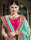 photo of Light Cyan Color Party Wear Saree In Art Silk Fabric With Embroidery Work And Designer Blouse