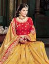 photo of Embroidery Work On Art Silk Fabric Golden Color Designer Saree With Party Wear Blouse