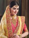photo of Art Silk Fabric Embroidery Work On Yellow Color Reception Wear Saree With Charming Blouse