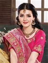photo of Embroidery Work On Beige Color Art Silk Fabric Designer Saree With Party Wear Blouse