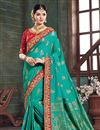 image of Dark Cyan Color Art Silk Fabric Function Wear Saree With Embroidery Designs And Gorgeous Blouse