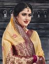 photo of Jacquard Work Art Silk Fabric Wedding Wear Saree In Beige With Designer Blouse