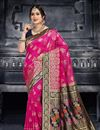 image of Art Silk Fabric Dark Pink Festive Wear Saree With Jacquard Work And Designer Blouse