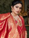 photo of Art Silk Designer Casual Party Wear Fancy Red Saree With Weaving Work