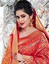 photo of Art Silk Fabric Weaving Work Sangeet Wear Red Color Saree With Designer Blouse